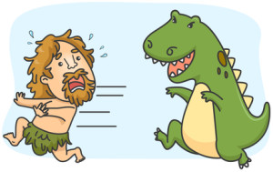 Illustration of a Caveman Running Away from a Dinosaur